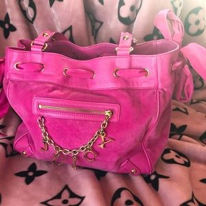 Pink juicy couture velour handbag